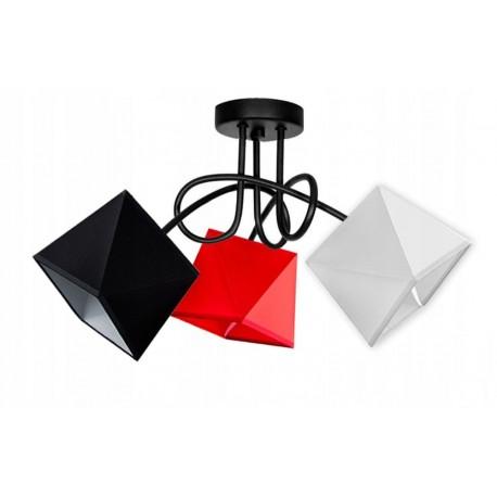 Loft-diament-3-MIX różne kolory abażurów, 3 kolory konstrukcji