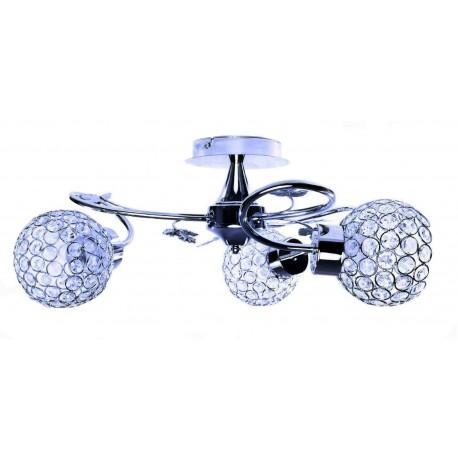 Kryształek z liściem 3 płomienna klosz z diamentami