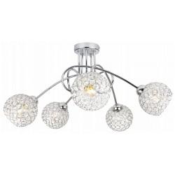 Kristal_CHROM_5 LAMPA SUFITOWA WISZĄCA ŻYRANDOL KRYSZTAŁ CHROM LED